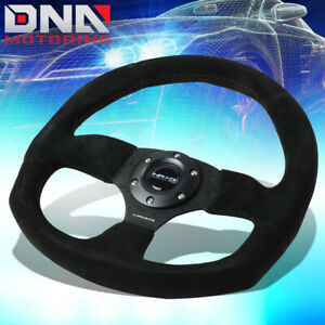 Nrg Reinforced Rst 009s 320mm Black Suede Flat Bottom D shape Steering Wheel