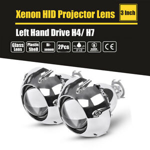 3 Inch Bi xenon Projectors Lens With Shrouds For H4 H7 Car Headlight Left Drive