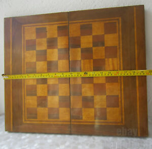 Large Vintage Box Wood Inlay Chessboard Checkerboard Game Board Chess Backgammon