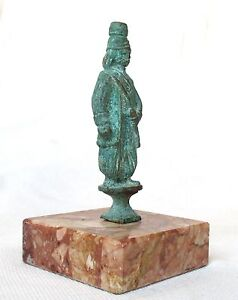 Chinese Archaic Warrior Antique Bronze Stataue Stands On A Marble Base