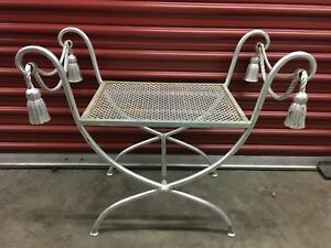 Rope And Tassel Seat Hollywood Regency Italian Guilt Bench Silver Leaf