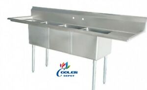 New 75 Stainless Steel Sink 3 Compartment Commercial Kitchen Bar Restaurant Nsf
