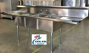 New 90 Stainless Steel Sink 3 Compartment Commercial Kitchen Bar Restaurant Nsf