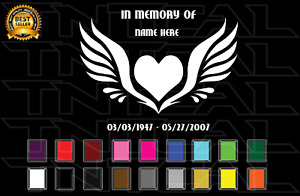 In Memory Of Custom Heart Angel Wings Loving Decal Car Truck Window Wall