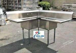 New Corner Stainless Steel Sink 3 Compartment Commercial Kitchen Restaurant Nsf