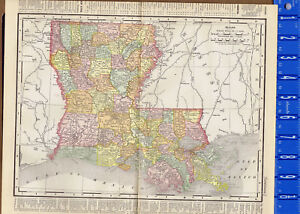 Louisiana United States 1895 Color State Map