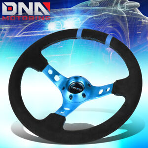 Nrg Reinforced Rst 016s nb 350mm 3 deep Dish Suede Blue Spoke Steering Wheel