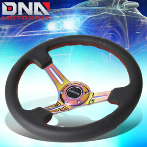 Nrg Rst 018r mcrs 35cm 3 deep Neo Chrome Spoke Leather Red Stitch Steering Wheel