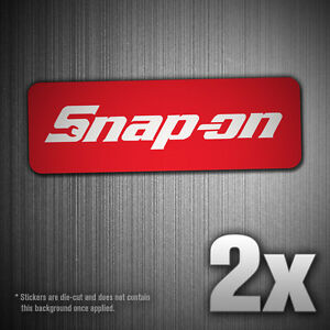 2x Snap On Tools Classic Red Logo Vinyl Decal Sticker Tool Box Car Truck Window