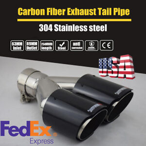 2 5 Inch To 3 5 Inch Stainless Exhaust Pipe Glossy Carbon Fiber Muffler Pipe Tip