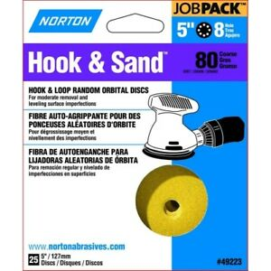 Norton 49223 5-Inch 8 Hole P80 Hook and Loop Discs 25-Pack