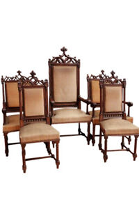 Nicely Carved Set Of Five Antique French Gothic Chairs Walnut