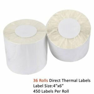 36 Rolls 450 roll 4x6 Direct Thermal Shipping Blank Labels Zebra 2844 505 450
