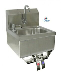 New Stainless Steel Knee Operated Hand Sink Kitchen Restaurant Bar Office Nsf