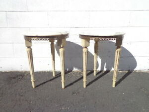 Pair Of Tables Marble Stone Top Accent Tables Italian Gold Fluted Legs Hollywood