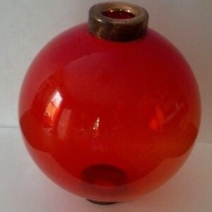 Vermilion Glass Lightning Rod Ball Roof Home Cabin Decor