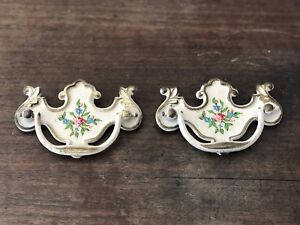 Set Of 2 Vintage Brass Painted Flower Batwing Style Drawer Dresser Pulls Handles