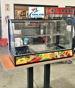 New 38 Commercial Warmer Display Case For Hot Food Curved Glass 3 Pan Model H38