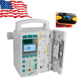 Us Fast Infusion Pump Iv Fluid Equipment Lcd Voice Alarm Monitor Kvo Purge spo2