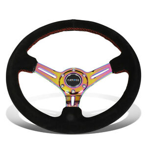 Nrg Reinforced 35cm 3 deep Dish Neo Chrome Spoke Suede Red Stitch Steering Wheel