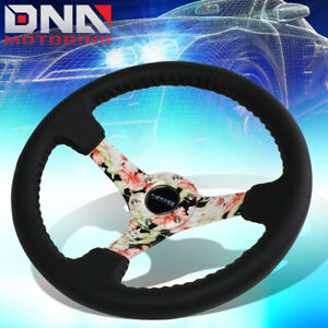 Nrg Rst 036fl R 350mm 3 Deep Dish Leather Floral Pattern Spokes Steering Wheel