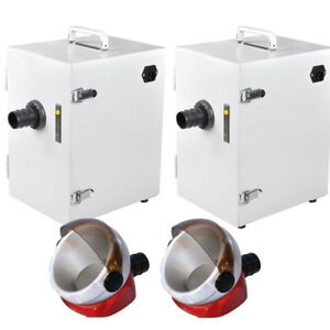 2x Dental Digital Single row Dust Collector Vacuum Cleaner Desktop Suction Base