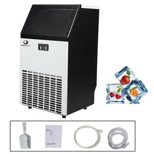 Stainless Steel Commercial Ice Maker 100lb 24hr Home Use Portable Free Stand