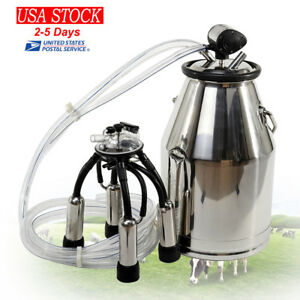 Fda Portable Stainless Steel Cow Milker Milking Machine Bucket Tank Barrel 25l