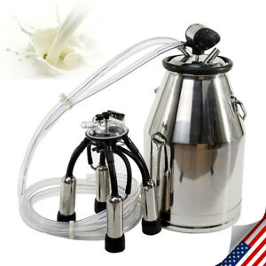 25l Cow Milker Tank Bucket Milking Machine 304 Stainless Steel Portable Easy Use