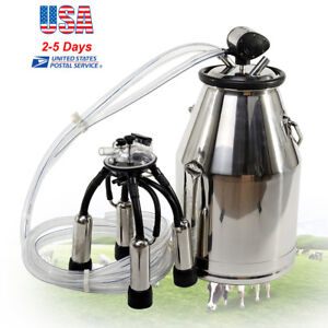 Stainless Steel Portable Milker Bucket Tank Milking Machine Capacity 25l Us Ship