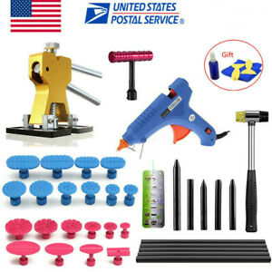 Pdr Car Body Repair Tools Lifter Glue Gun Hammer Paintless Puller Tabs T Bar Kit