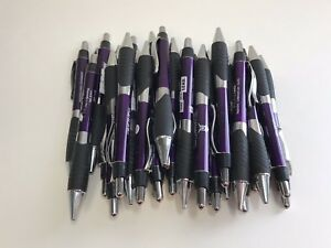30 Lot Retractable Misprint Ink Pens Thick Purple Barrels With Rubber Grip
