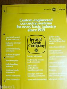 1975 Jervis B Webb Conveying Systems Bulk Handling Computer Controlled Catalog