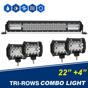 1098w 22inch Led Light Bar Osram Flood Spot Combo 4inch Pods Suv Driving Truck