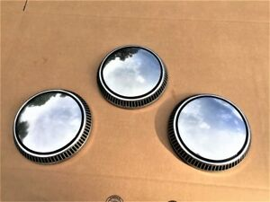 Ford Vintage Dog Dish Hubcaps Oem Stainless Set Of 3 nice