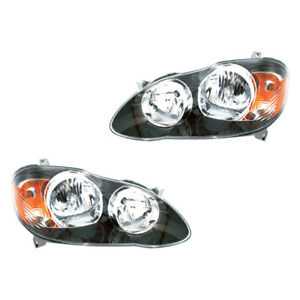 Fits 2005 2007 Toyota Corolla S Xrs Driver Passenger Headlight Assembly 1 Pair