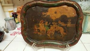Toleware Tray Original Paint Borzoi Russian Wolfhounds Late 19th Early 20th