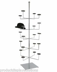 Non revolving Free Standing Hat Cap Display Rack Holds 20 Hats Chrome