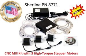 Sherline Pn 8771 4 Axis Controller Power Supply 3 High Torque Stepper Motors