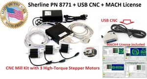 Sherline Pn 8771 Usb Cnc Mach4 License High Torgue Stepper Motors Mill Kit