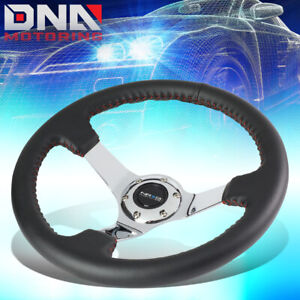 Nrg St 036ch 350mm 3 deep Dish Leather Red Stitch Chrome Spoke Steering Wheel