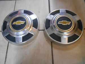 73 87 Dog Dish Chevy Hubcaps 8 Lug Wheel Oem 2 Pieces Only