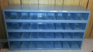 Vintage Industrial Blue Partitioned Metal Storage Cabinet Parts Bin 32 Slots