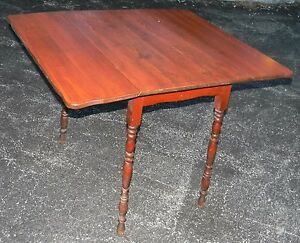 Vtg Antique Farm House Kitchen Primitive Drop Leaf Harvest Pine Wood Table Nice