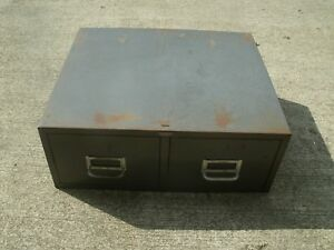 Vintage Steel Industrial File Cabinet 2 Drawer Index Card Catalog Gray Usa Made