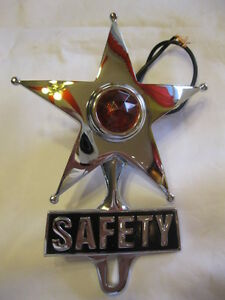 Red Lighted Chrome Safety Star License Topper Lowrider Bomber Hotrod Ratrod