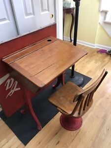 Antique Vintage Kenney Bros Inc Boston Mass School Desk Chair With Metal Base