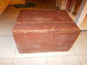 Late 1800s Early 1900s Wooden Box With Original Maroon Paint Blue Paint Inside