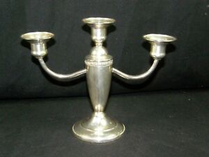 Vintage Elegant Weighted Sterling Silver 3 Candle Holder Very Nice