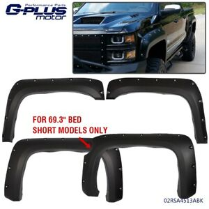 For 07 13 Chevy Silverado 1500 69 Short Bed Fender Flares Pocket Style Black